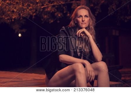 Fashionable Beautiful One Mature Caucasian Woman Posing, Late 40S, Ex Fashion Model, Posing Portrait
