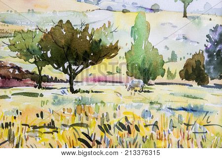 Painting watercolor landscape original paintings on paper colorful of cow and cornfield meadow with mountain sky view background. Painted Impressionist abstract image beauty nature autumn trees season.