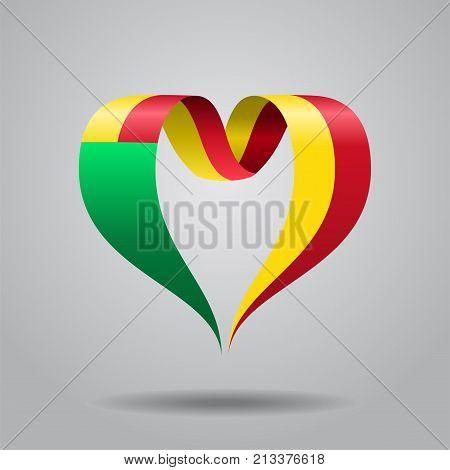 Benin flag heart-shaped wavy ribbon. Vector illustration.