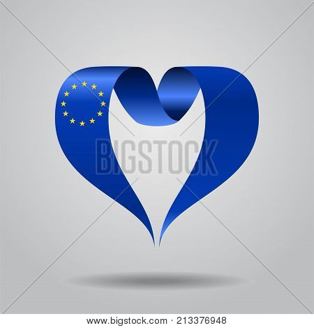 European Union flag heart-shaped wavy ribbon. Vector illustration.