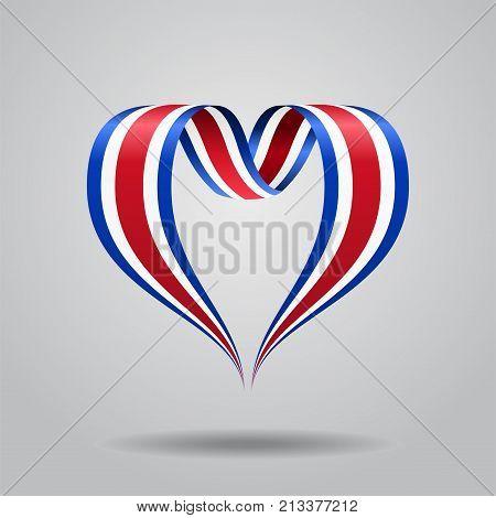 Costa Rican flag heart-shaped wavy ribbon. Vector illustration.