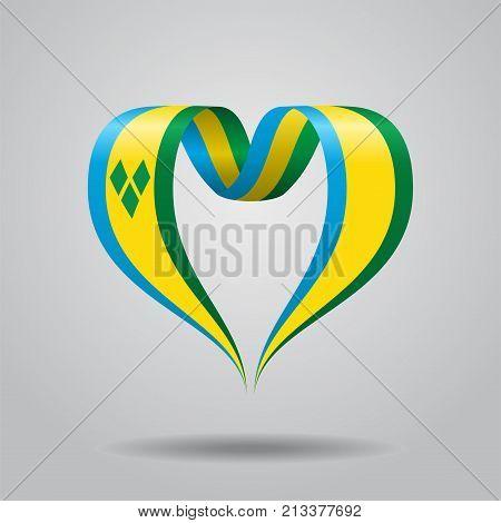 Saint Vincent and the Grenadines flag heart-shaped wavy ribbon. Vector illustration.