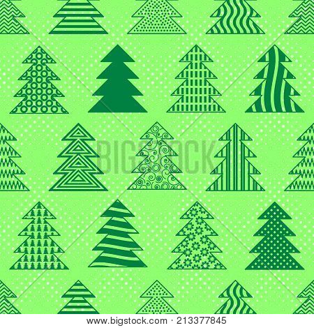 Seamless Background with Green Christmas Fir Trees, Winter Symbols, Holiday Tile Pattern. Vector