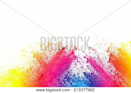abstract powder splatted on white backgroundFreeze motion of color powder exploding.