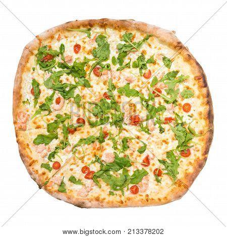 Top View Of Pizza Al Salmone Fresco Isolated On White
