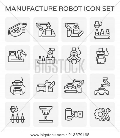 Manufacturing robot and production line icon set.