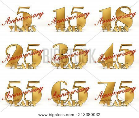 Set Of Years Celebration Design. Anniversary Golden Number Template Elements For Your Birthday Party