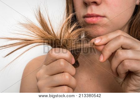 Hair Problems - Brittle, Damaged, Dry And Loss Hair Concept