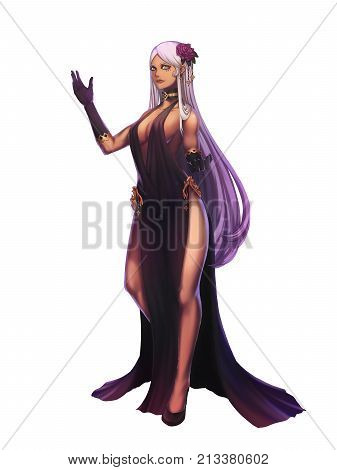 Black Witch, Black Magic Woman. Video Game's Digital CG Artwork, Concept Illustration, Realistic Cartoon Style Character Design