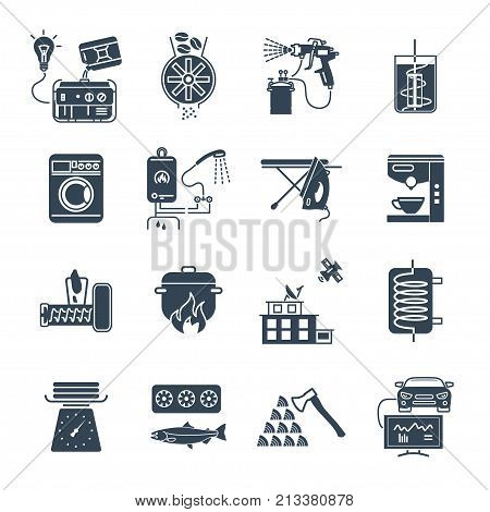 set of black icons household appliances electrical equipment machine