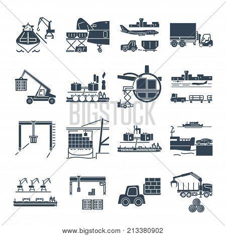 set of black icons loading and unloading of goods handling warehousing