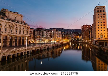 BILBAO, BASQUE COUNTRY SPAIN SEPTEMBER 2017: The Arriaga Theater by night.