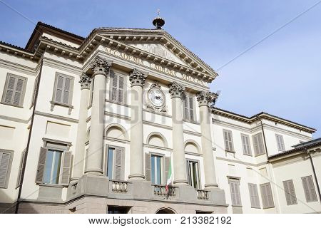 BERGAMO, ITALY - 25 OCTOBER 2017 - Architectural detail in the Old City of Bergamo, Italy, Europe