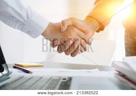 Close Up Of Business People Shaking Hands, Finishing Up Meeting, Business Etiquette, Congratulation,