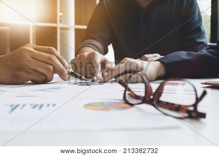 Group Of Business. Business Team Adviser Busy Discussing Financial Matter During Meeting, Business P