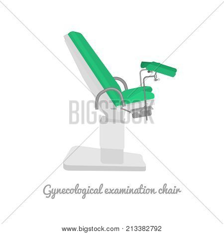 Gynecological examination chair. Medical hardware concept. Vector illustration useful for gynecology, healthcare, medicine or women pregnancy design. Beautiful image isolated on white background.