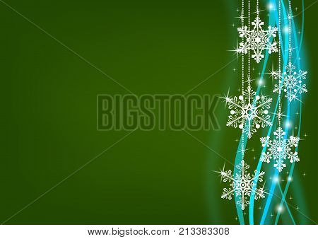 Abstract dark green background with snowflakes and blured lines