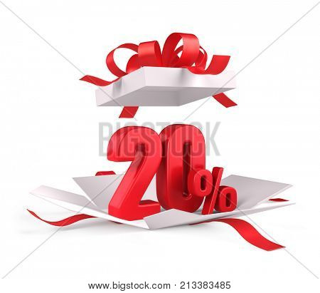 Open gift box with red 20 percent discount on white background - Discount sale concept. 3d rendering