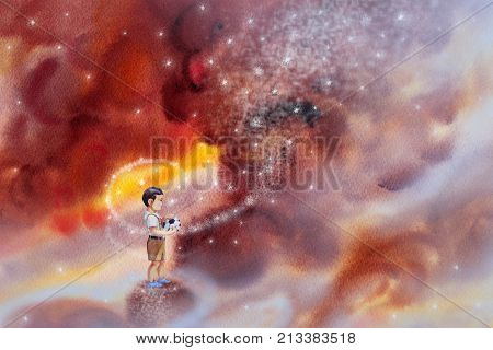 Boys hold football, Stands looking at the sky. Watercolor painting colorful clouds with stars abstract background. Hand Painted Impressionist illustration image.
