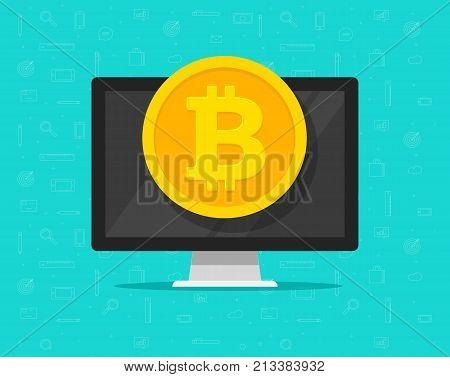 Bitcoin coin on computer vector illustration, flat cartoon design concept of cryptocurrency mining, bitcoin electronic money wallet, e-wallet cash, internet blockchain money