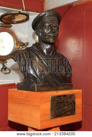 St. Petersburg, Russia - October 27, 2012: Bust Ognev Evdokimov Pavlovich in the museum cruiser