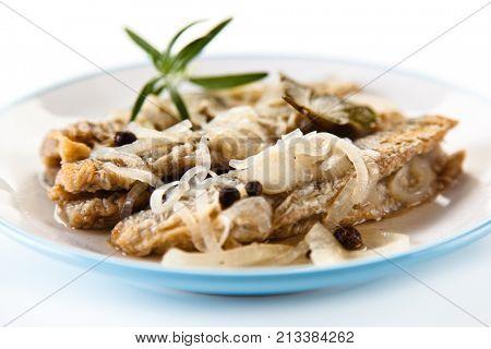 Fish dish - fried herring in vinegar