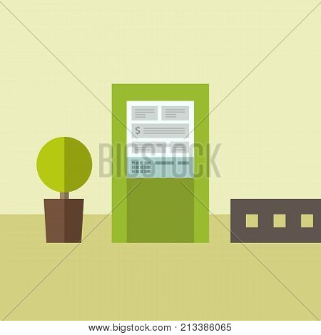 Terminal and credit card cash bank service. Vector illustration