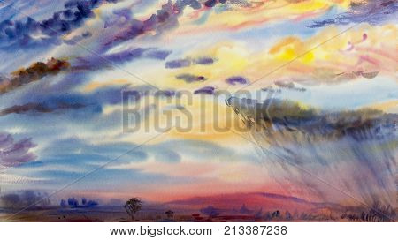 Watercolor painting landscape colorful of rain clouds, meadow in mountain. sky background. Hand Painted Impressionist abstract image.