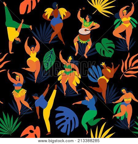 Vector illustration in retro flat style carnival young people. Seamless pattern Brazilian samba dancers capoeira drummer. Design tropic bright leaves.