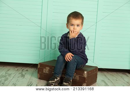 Boy With Old Suitcase