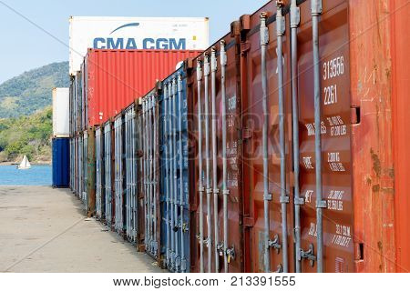 Ship Containers In The Port Of Nosy Be, Madagascar