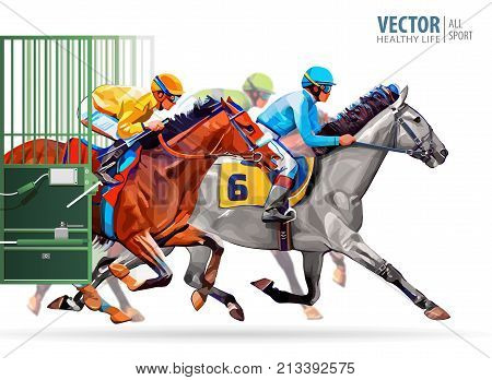 Three racing horses competing with each other, with motion blur to accent speed. Start gates for horse races the traditional prize Derby. Vector illustration
