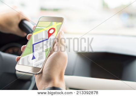 Navigation With Mobile App In Smartphone. Online Map And Gps Application On Cellphone Screen.