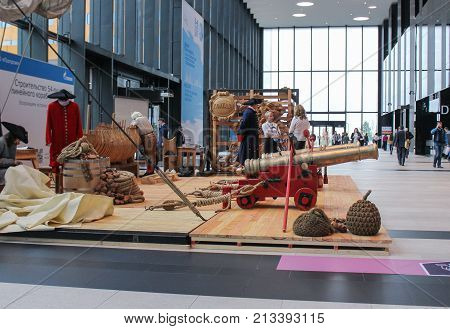St. Petersburg, Russia - 3 October, Exhibition of ship crafts in Expo Forum, 3 October, 2017. Expo Forum venue of the St. Petersburg Gas Forum.