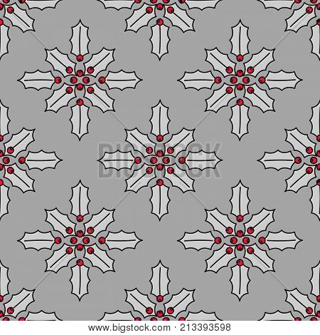 Simple Seamless pattern. Christmas decoration. Stylized Holly or ilex leaves and berries. Vector texture design