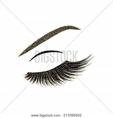 Beautiful eye lashes vector illustration with glitter effect