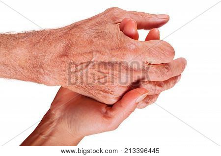 Young woman hand holding elderly man hand with amputated finger on white background.
