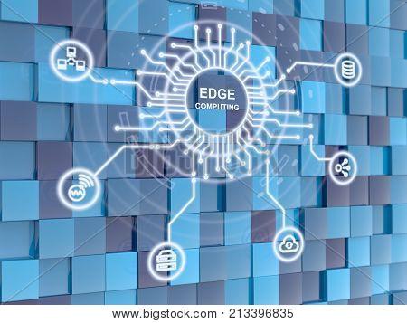 Edge computing circuit circle on blue cube background 3D illustration