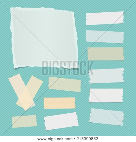 White ripped notebook, note paper sheet, sticky adhesive sticky tape for text or message on turquoise squared background