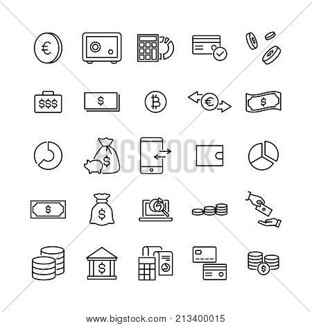 Simple set of money related outline icons. Elements for mobile concept and web apps. Thin line vector icons for website design and development, app development. Premium pack.