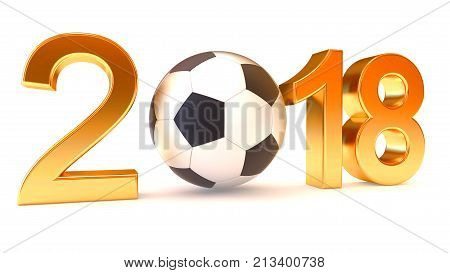 Year 2018 and soccer ball on the white background, 3d illustration
