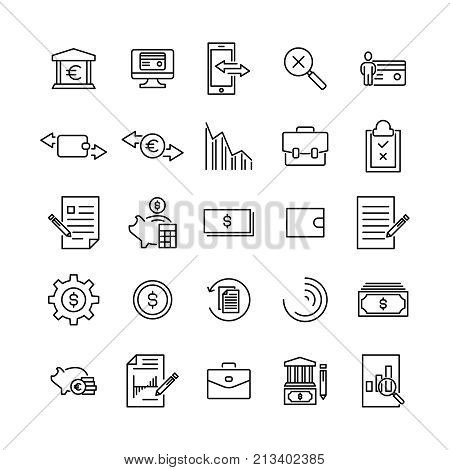 Simple set of banking related outline icons. Elements for mobile concept and web apps. Thin line vector icons for website design and development, app development. Premium pack.