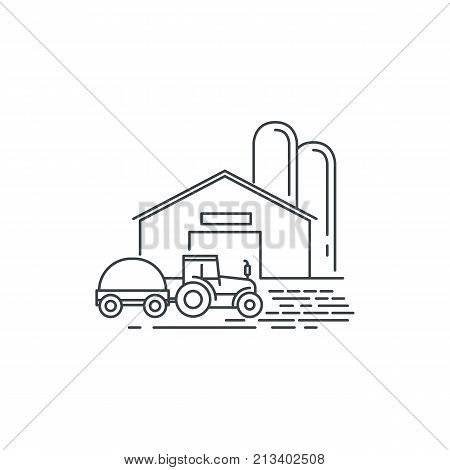 Farm barn and tractor line icon. Outline illustration of horse barn vector linear design isolated on white background. Farm logo template, element for farming design, line icon object