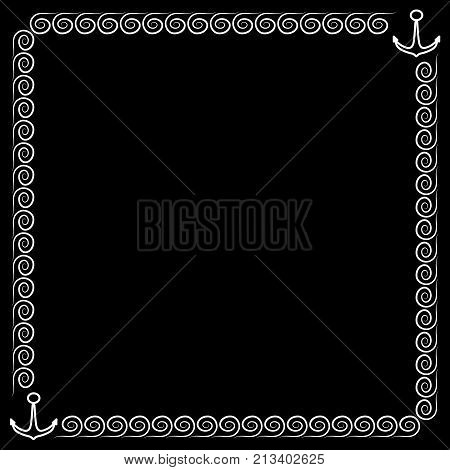 Frame white. Border from waves and anchors. Decoration sea concept. Monochrome framework isolated on black background. Decoration banner rim. Modern art scoreboard. Stock vector illustration