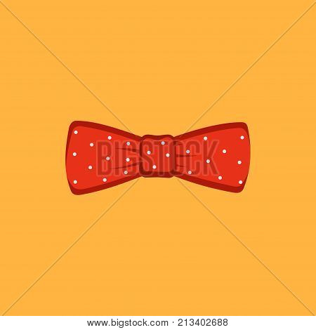 Red polka dot bow tie on a orange background. Vector illustration