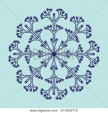 Snowflake sign. Cold ornament symbol. Winter design. Image of snow season. Blue ice icon isolated on white background. Logo for christmas or frozen celebration. Stock vector illustration