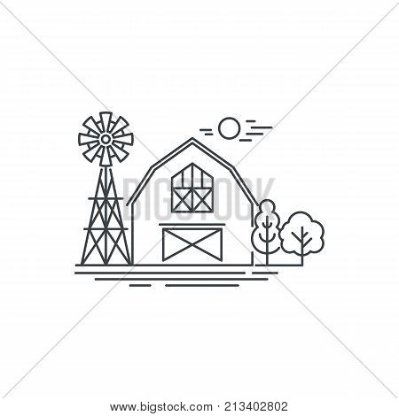 Farm barn line icon. Outline illustration of horse barn vector linear design isolated on white background. Farm logo template, element for farming design, line icon object