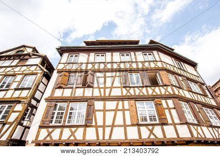 View on the beautiful half-timbered ancient houses in Strasbourg old town, France