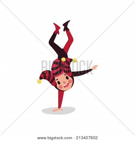 Joker flat cartoon character standing upside down on one hand. Boy jester in black and red costume, cap and bells. Traditional festival fool wear. Acrobatic performance. Vector isolated on white. poster