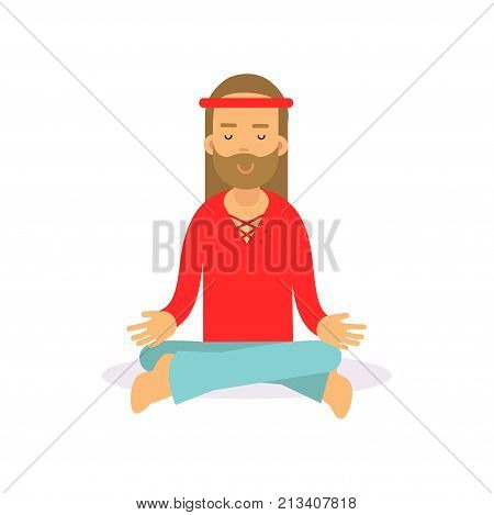 Flat cartoon bearded man hippie sitting in lotus pose, meditating. Male with long hair dressed in red t-shirt and blue jeans, woodstock sixties hippy subculture. Love and pacifism. Vector on white